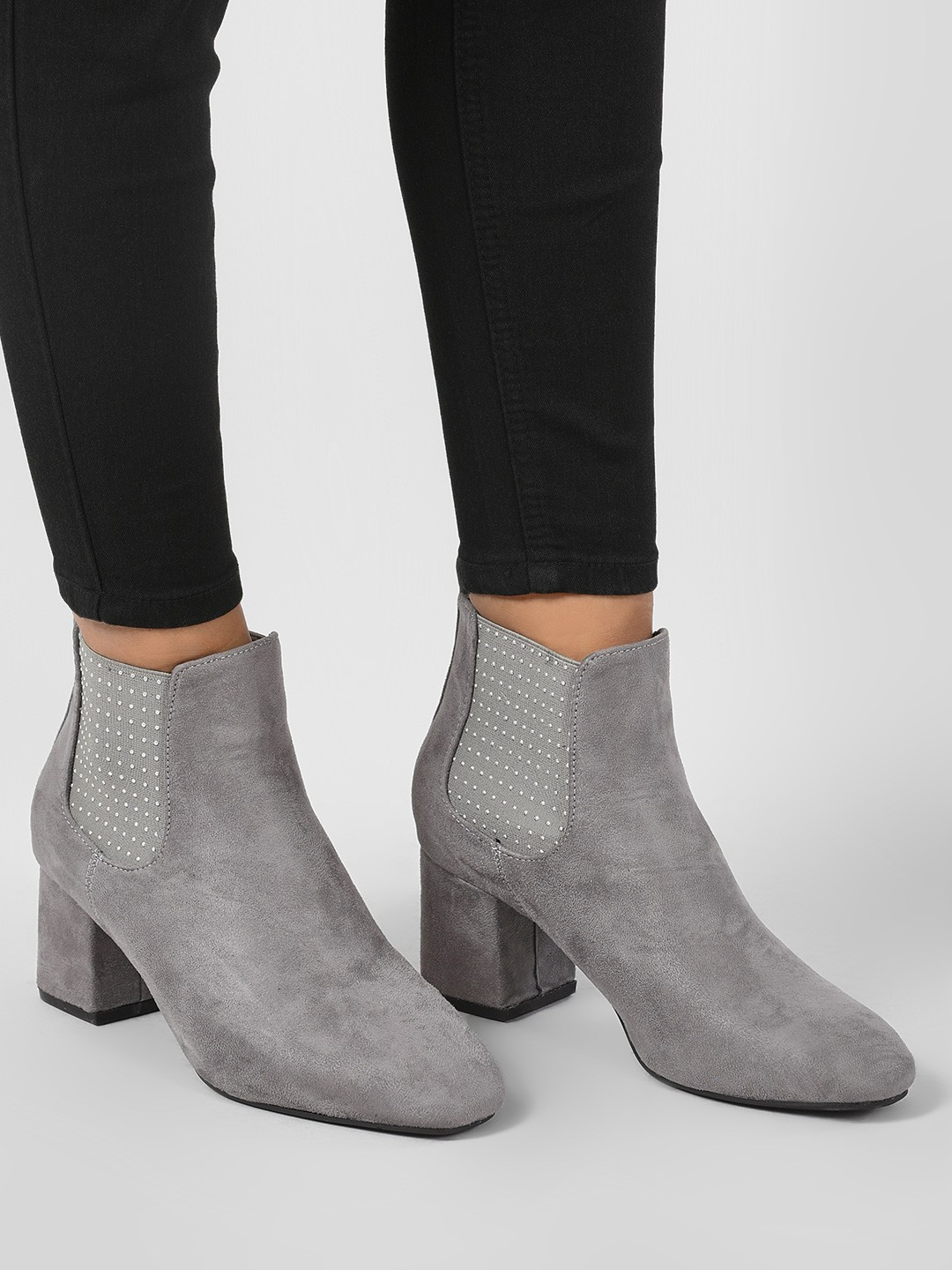 Intoto Grey Studded Elastic Chelsea Boots 1
