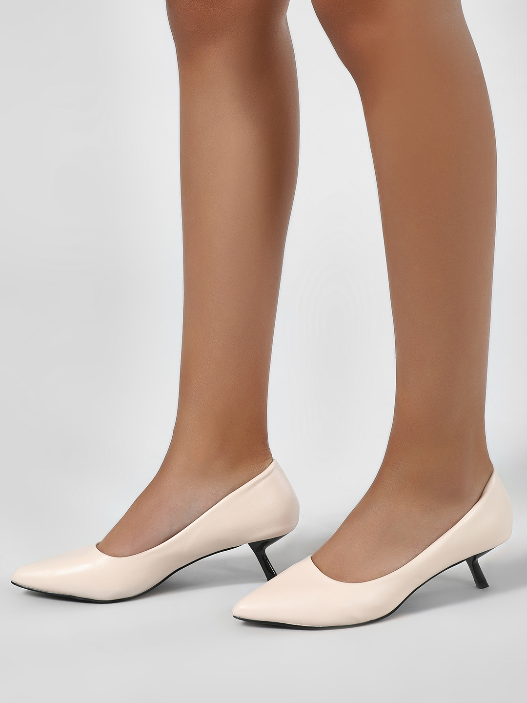 Intoto Black/Nude Angular Kitten Heel Pumps 1