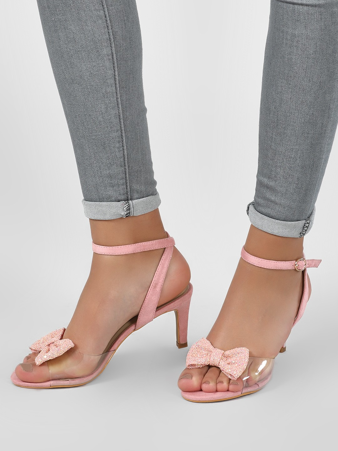 Intoto Blush pink Glitter Bow Clear Strap Sandals 1