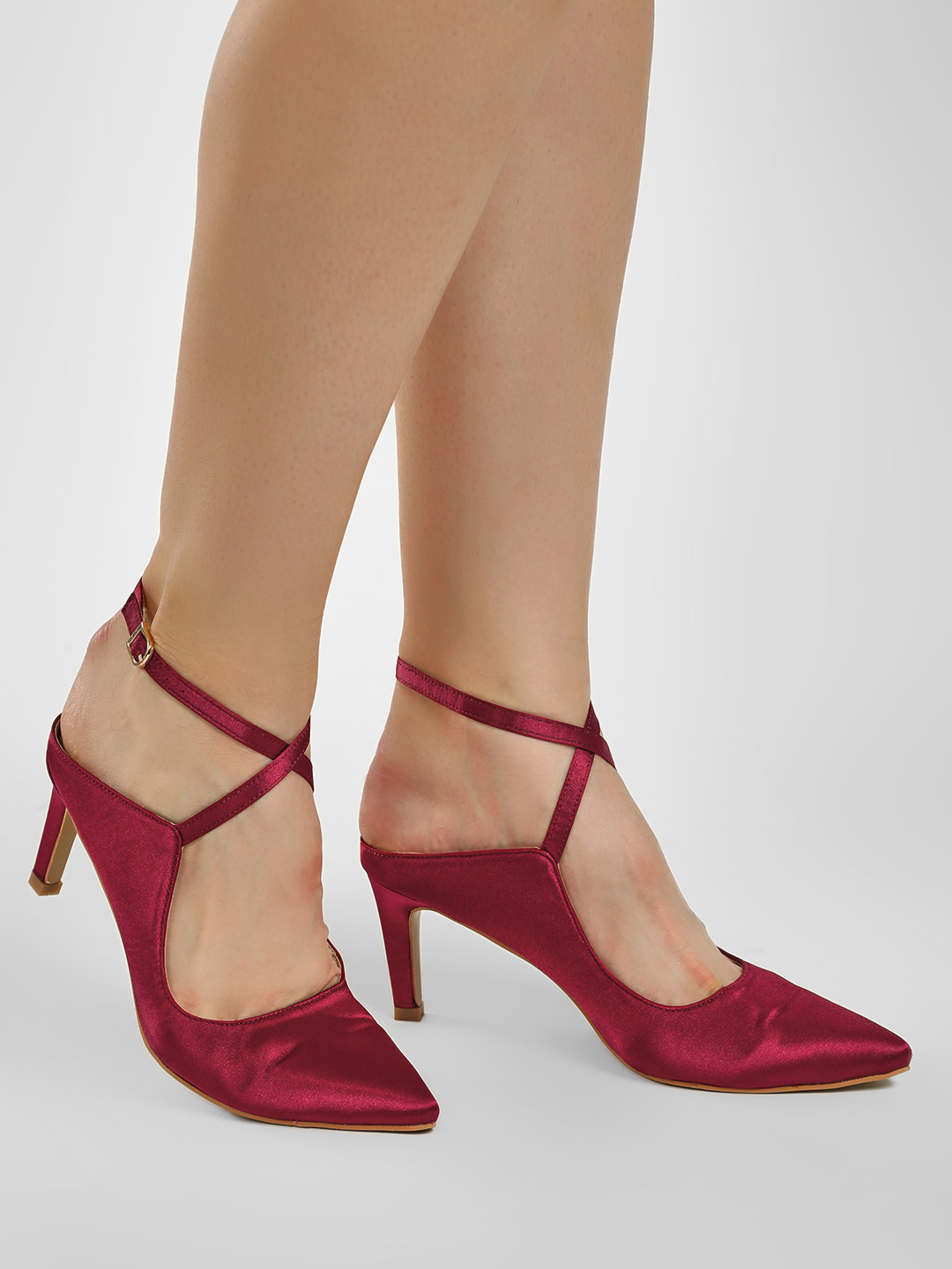 Intoto Marsala Cross Ankle Strap Heeled Pumps 1
