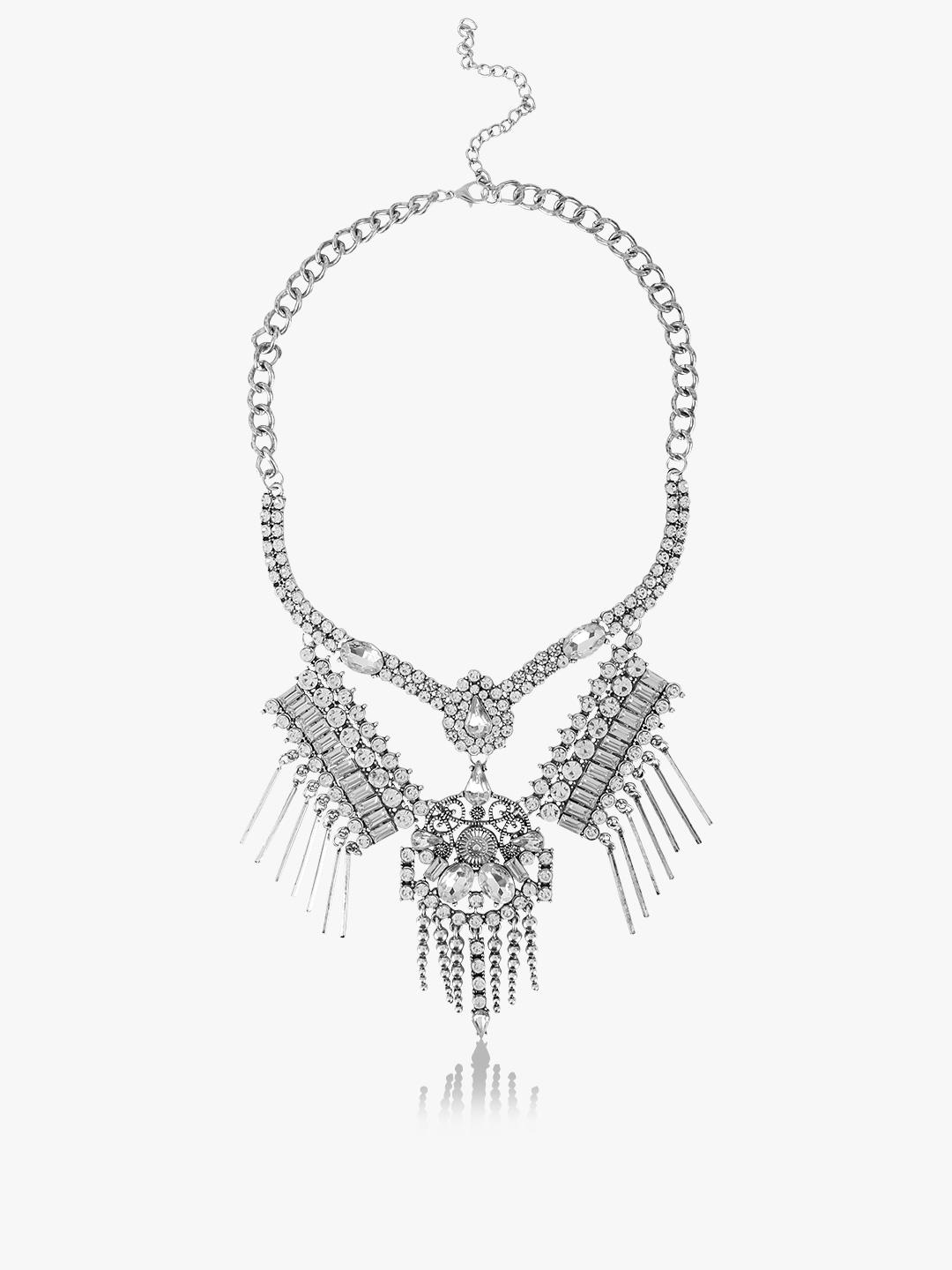 Style Fiesta Silver Antique Statement Necklace 1