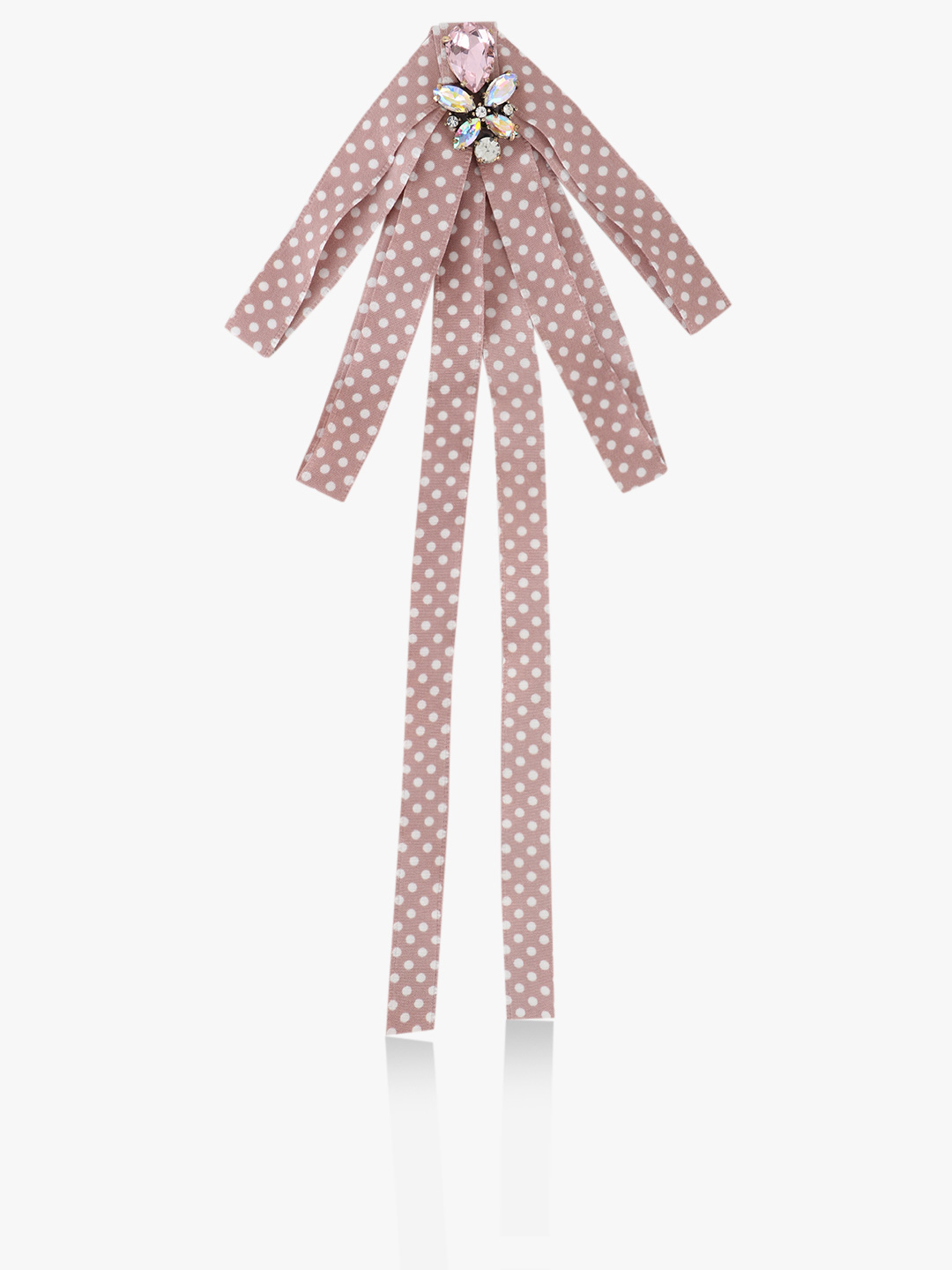 Style Fiesta Pink Polka Dot Embellished Bow Tie 1