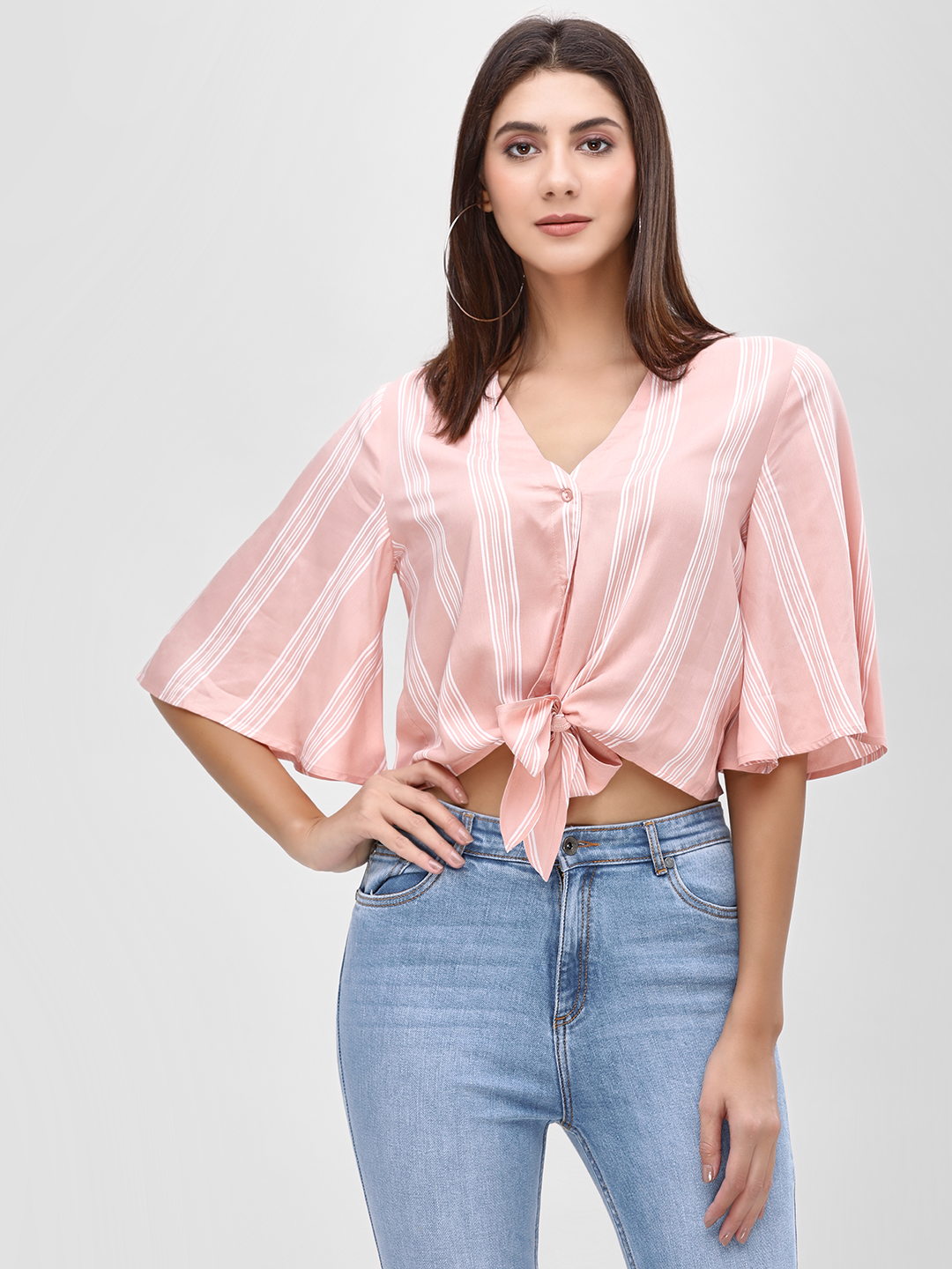 KOOVS Pink Striped Knot Front Top 1