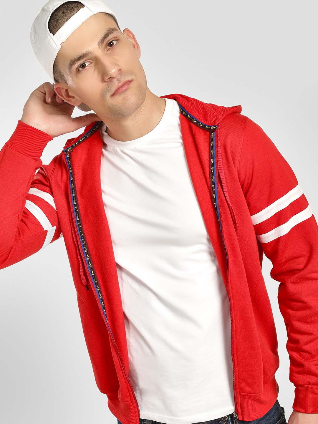 Blotch Red Drawstring Hoodie With Stripes 1