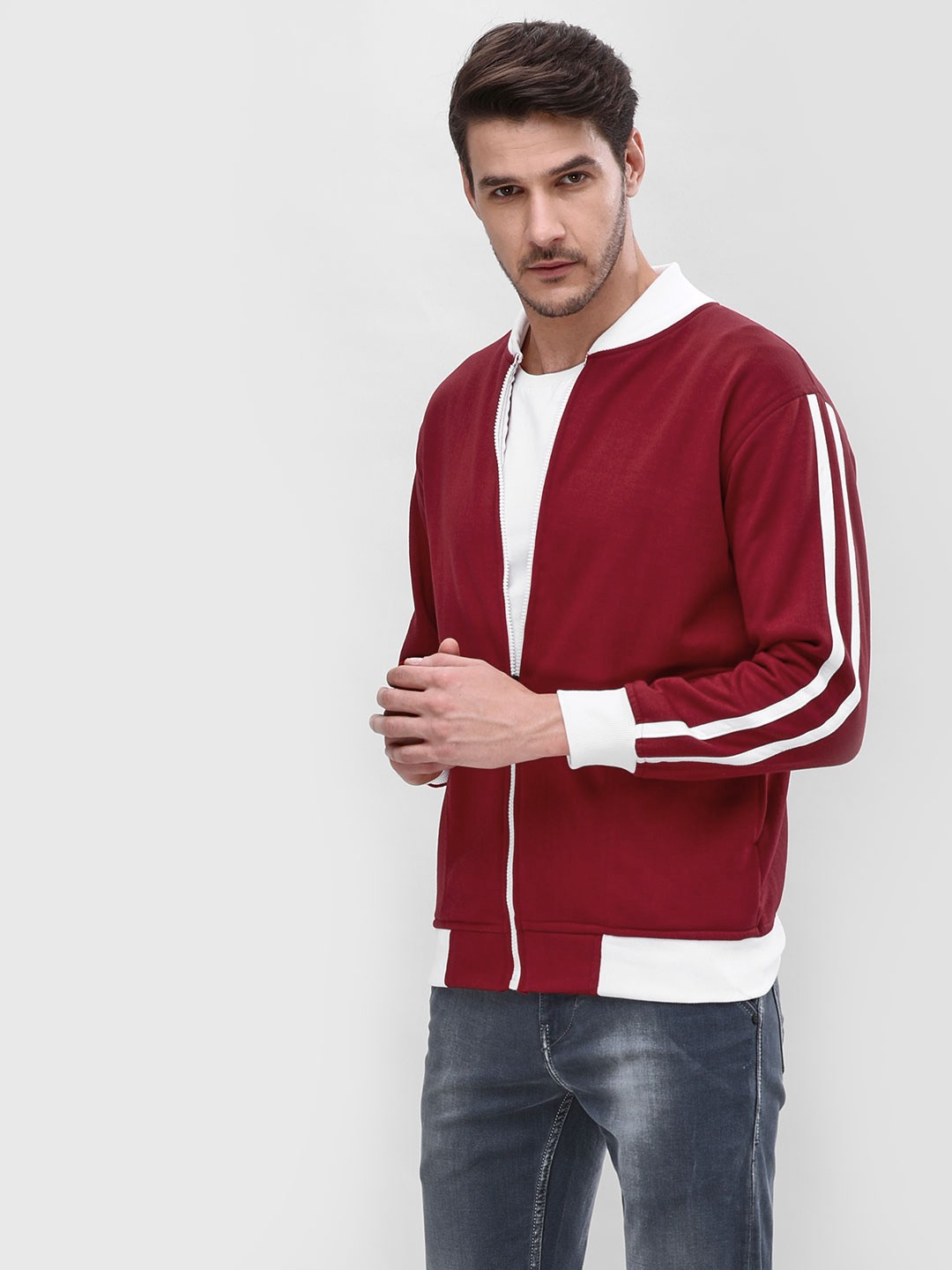 Blotch Red Contrast Sleeves Striped Jacket 1