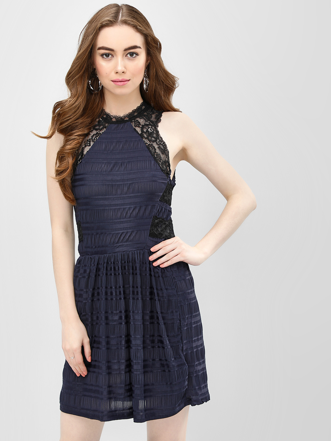 Benoit Navy Fit & Flare Lace Skater Dress 1