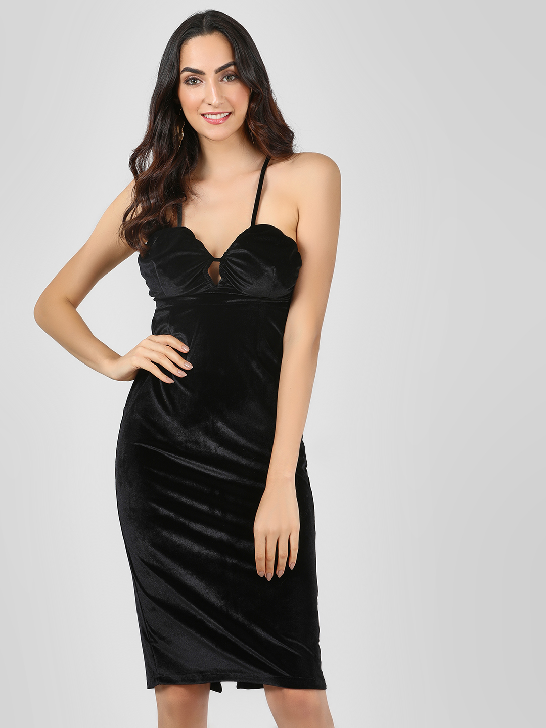 Benoit Black Velvet Cross-Back Shift Dress 1