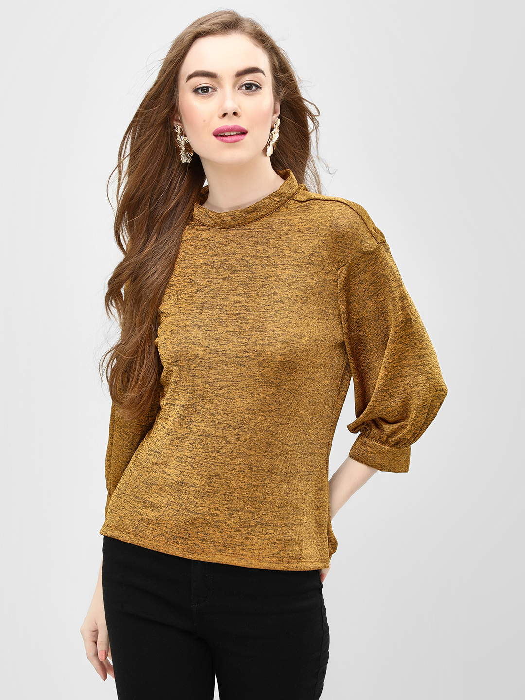 Benoit Mustard Melange Bishop Sleeve Blouse 1