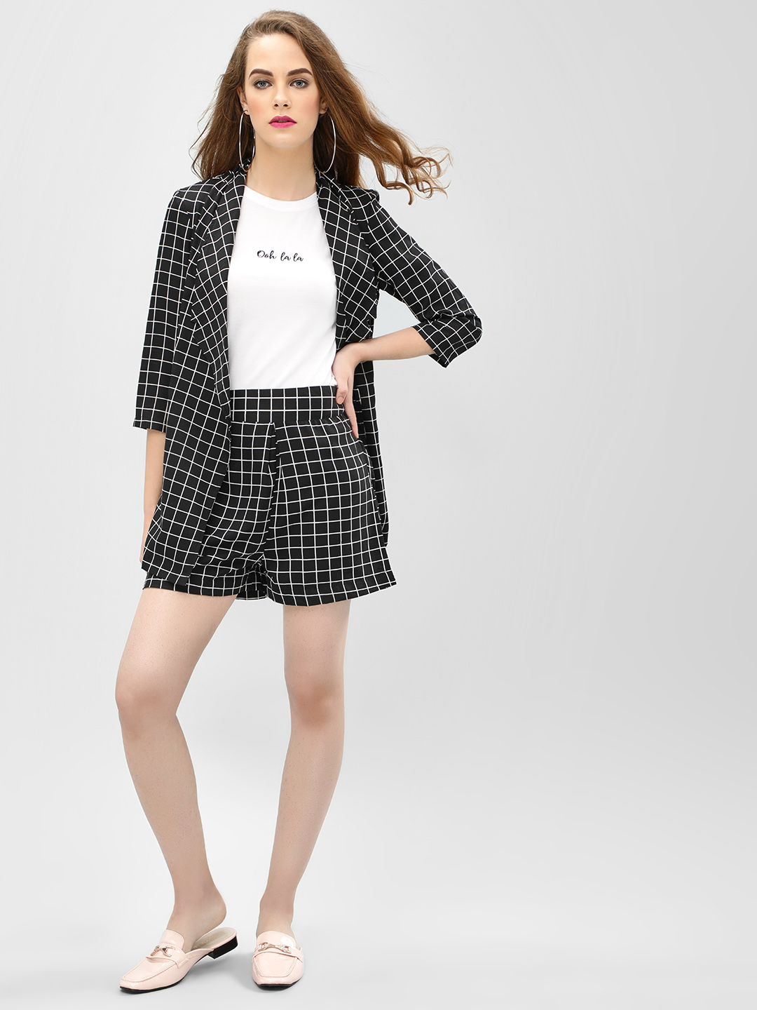 Closet Drama Black Grid Print Shorts 1
