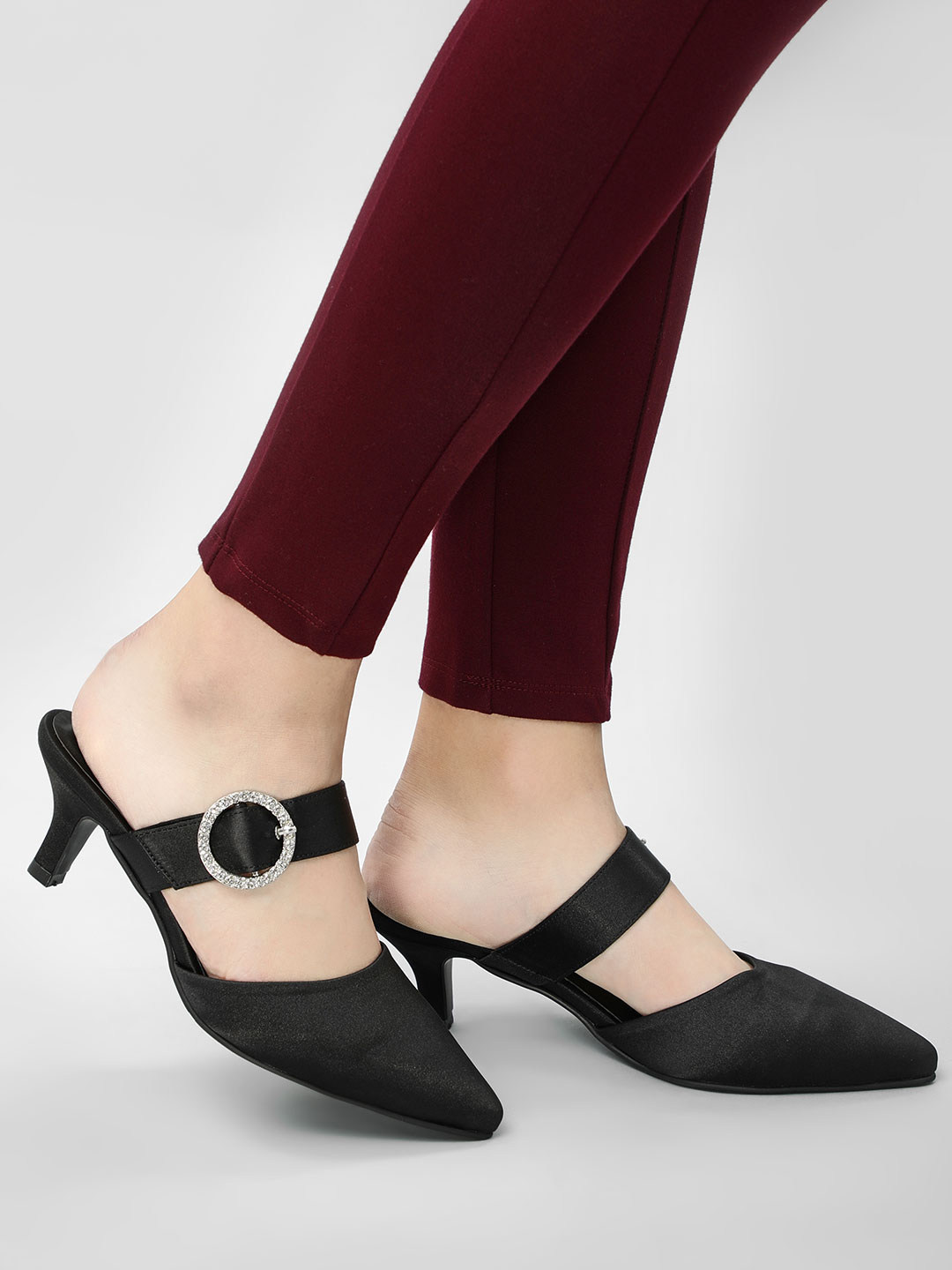 KOOVS Black Diamante Buckle Kitten Heels 1