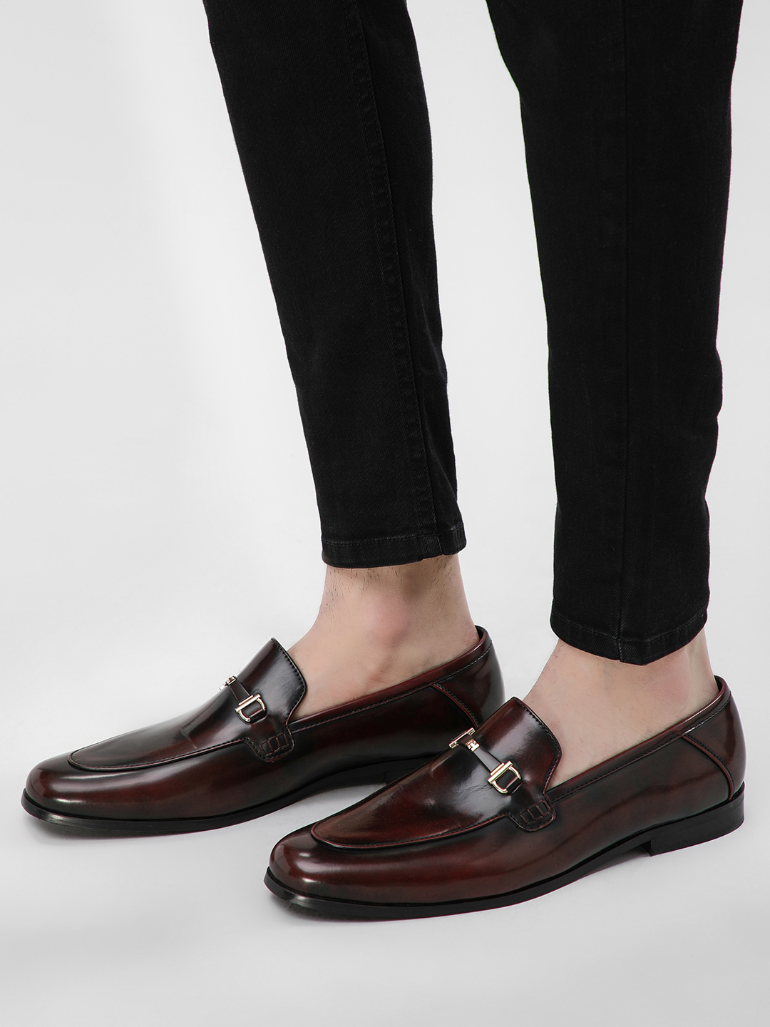 KOOVS Red Two-Tone Metal Trim Loafers 1