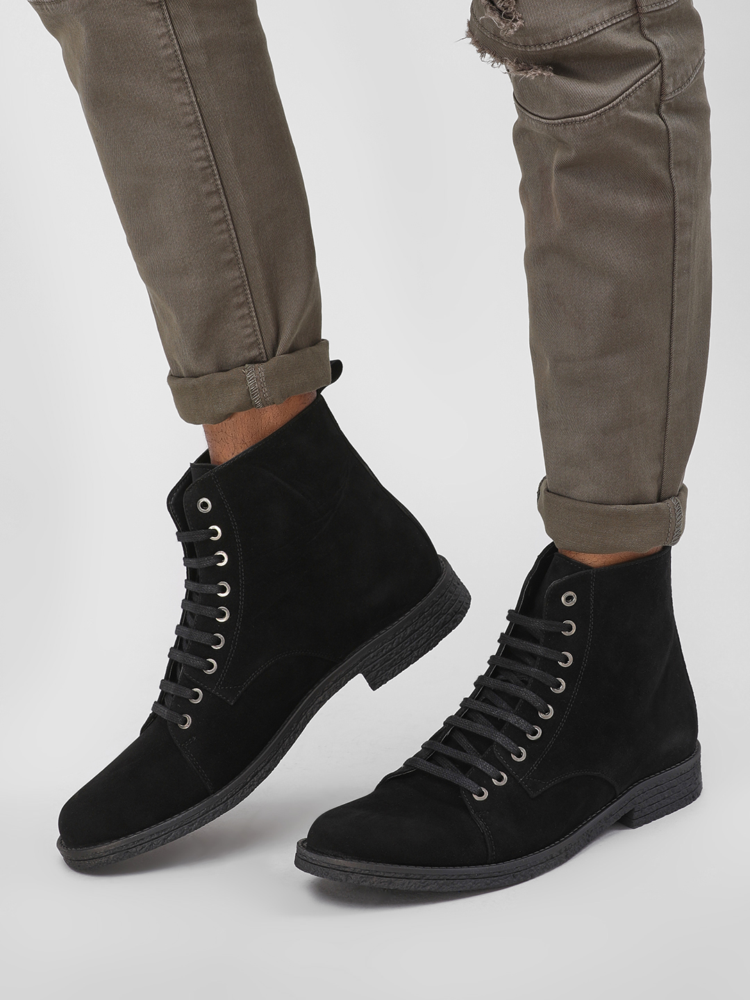 KOOVS Black Double Layer Ankle Boots 1