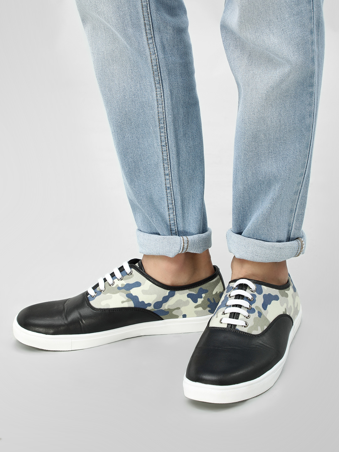 KOOVS Black Lace-Up Cup Sole Sneakers 1