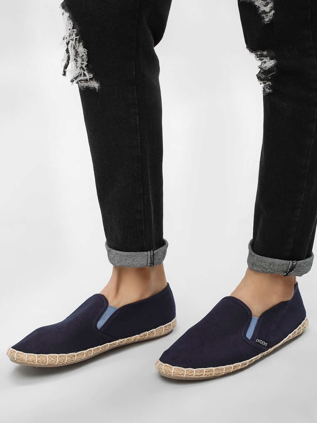 KOOVS Navy Basic Slip On Espadrilles 1