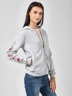 Femella Floral Embroidered Sleeve Jacket