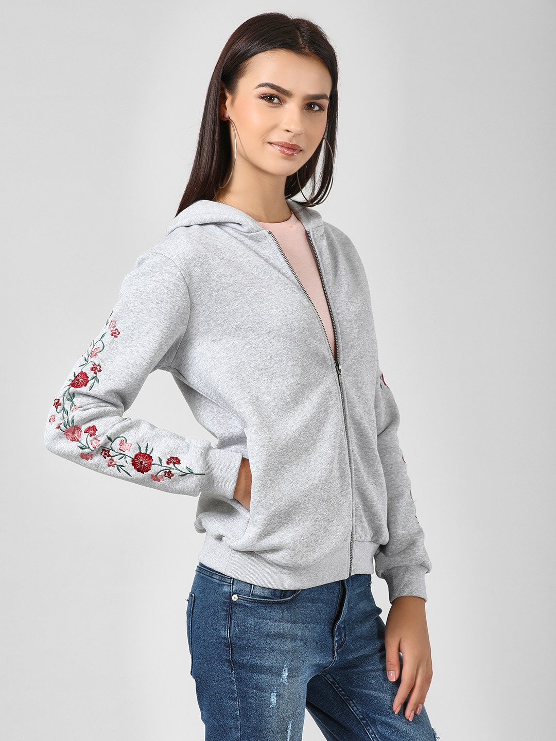 Femella Grey Floral Embroidered Sleeve Jacket 1