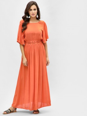 KOOVS Eyelet Lace-Up Maxi Dres...