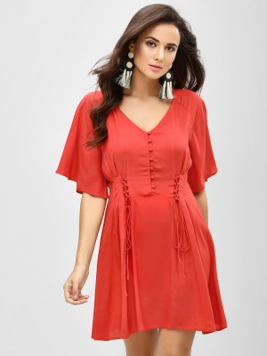 KOOVS Lace Up Skater Dress...