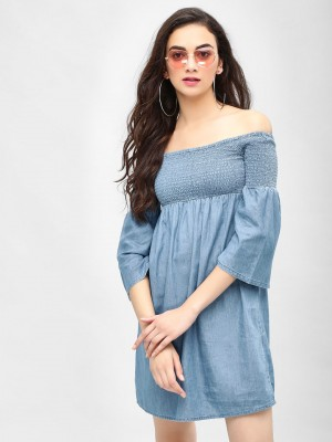 ONLY Smocked Off-Shoulder Deni...