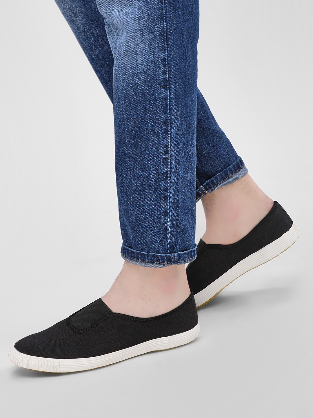 KOOVS Black Slip-On Gusset Plimsoll Shoes 1