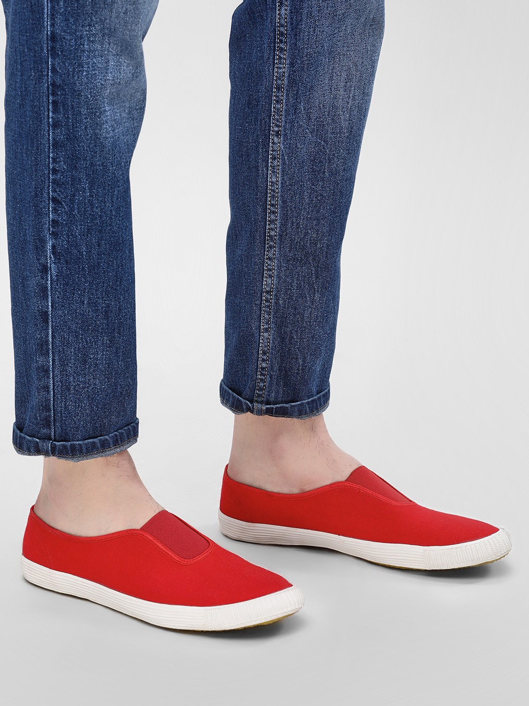 KOOVS Red Slip-On Gusset Plimsoll Shoes 1