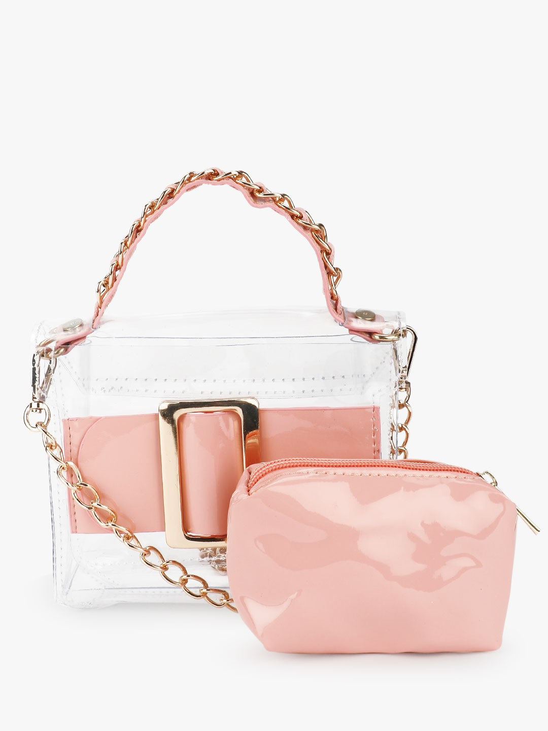 Origami Lily Blush pink Buckle Detail Clear Sling Bag 1