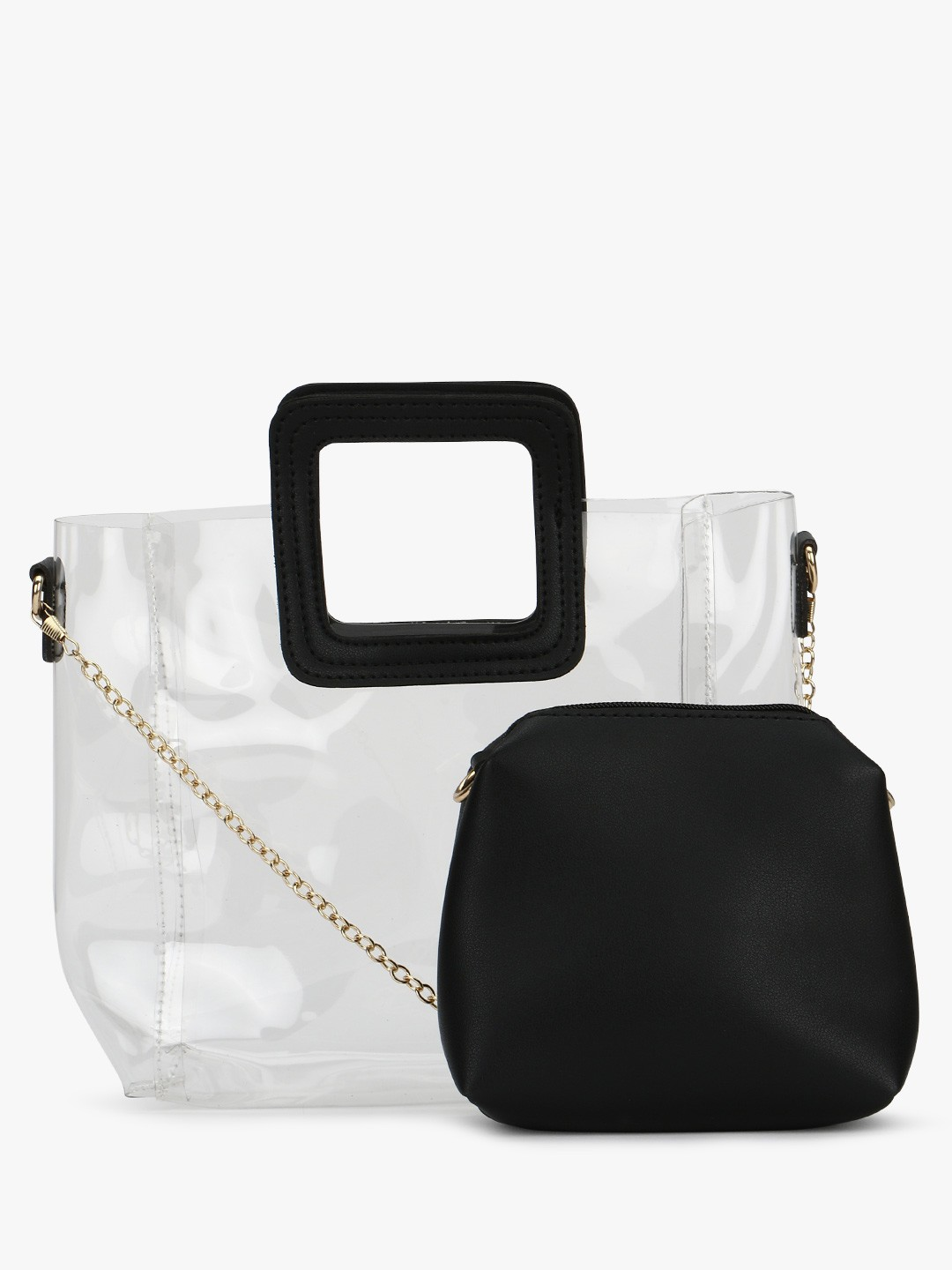 Origami Lily Black Clear Tote Bag 1