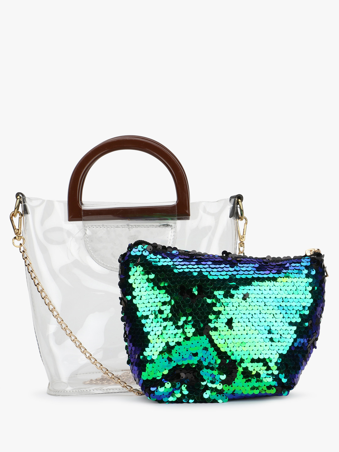 Origami Lily Green Clear Tote Bag 1