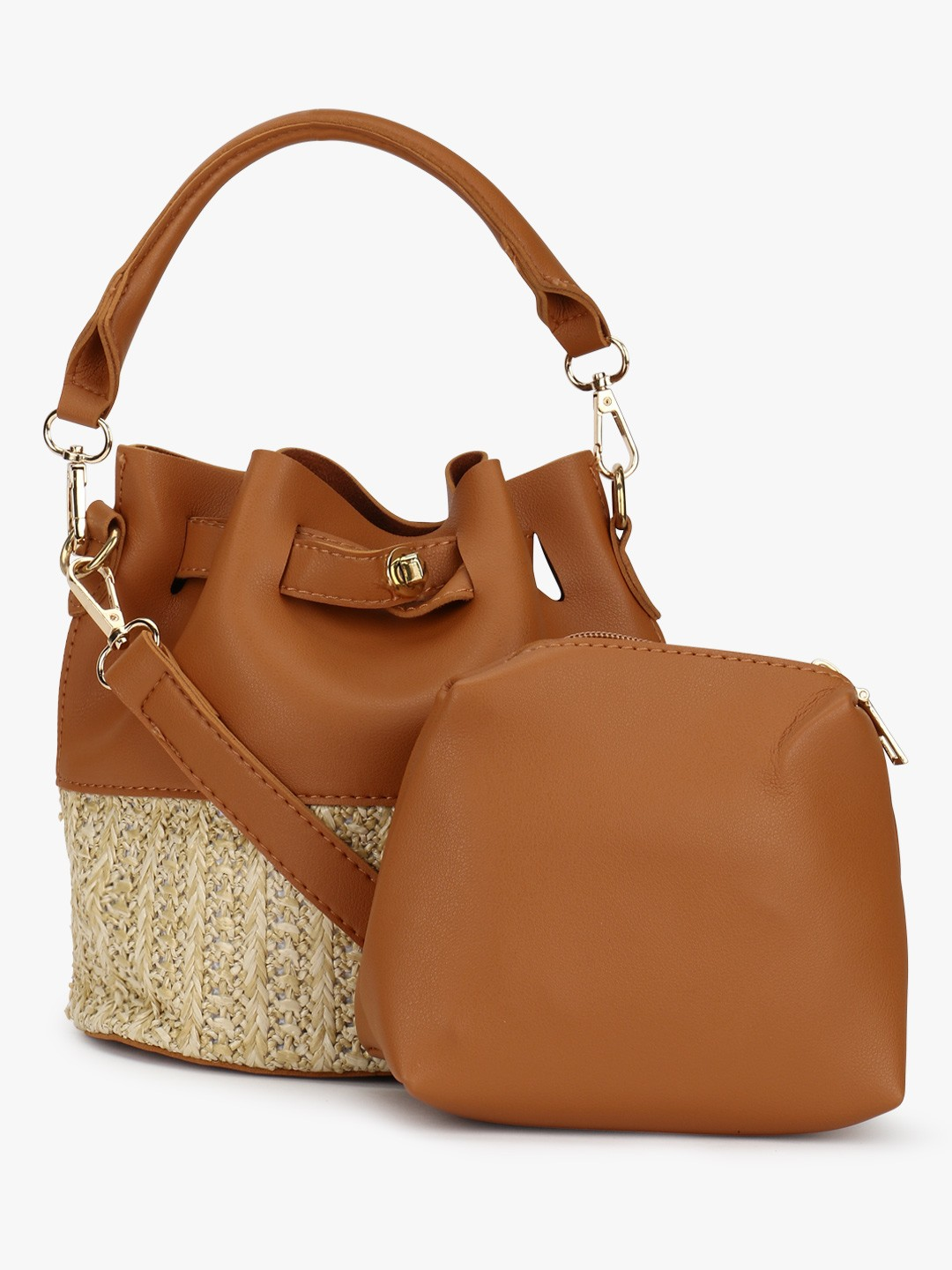 Origami Lily TAN/BEIGE Bucket Bag With Pouch 1