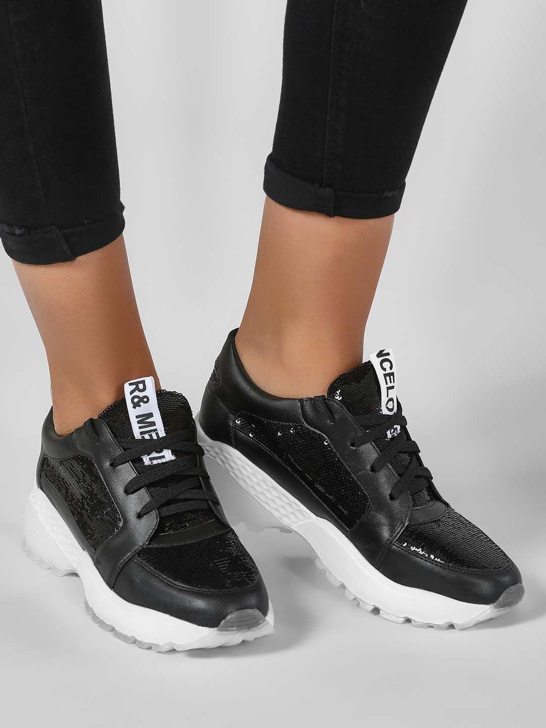 Sole Story Black Glitter Chunky Sole Trainers 1
