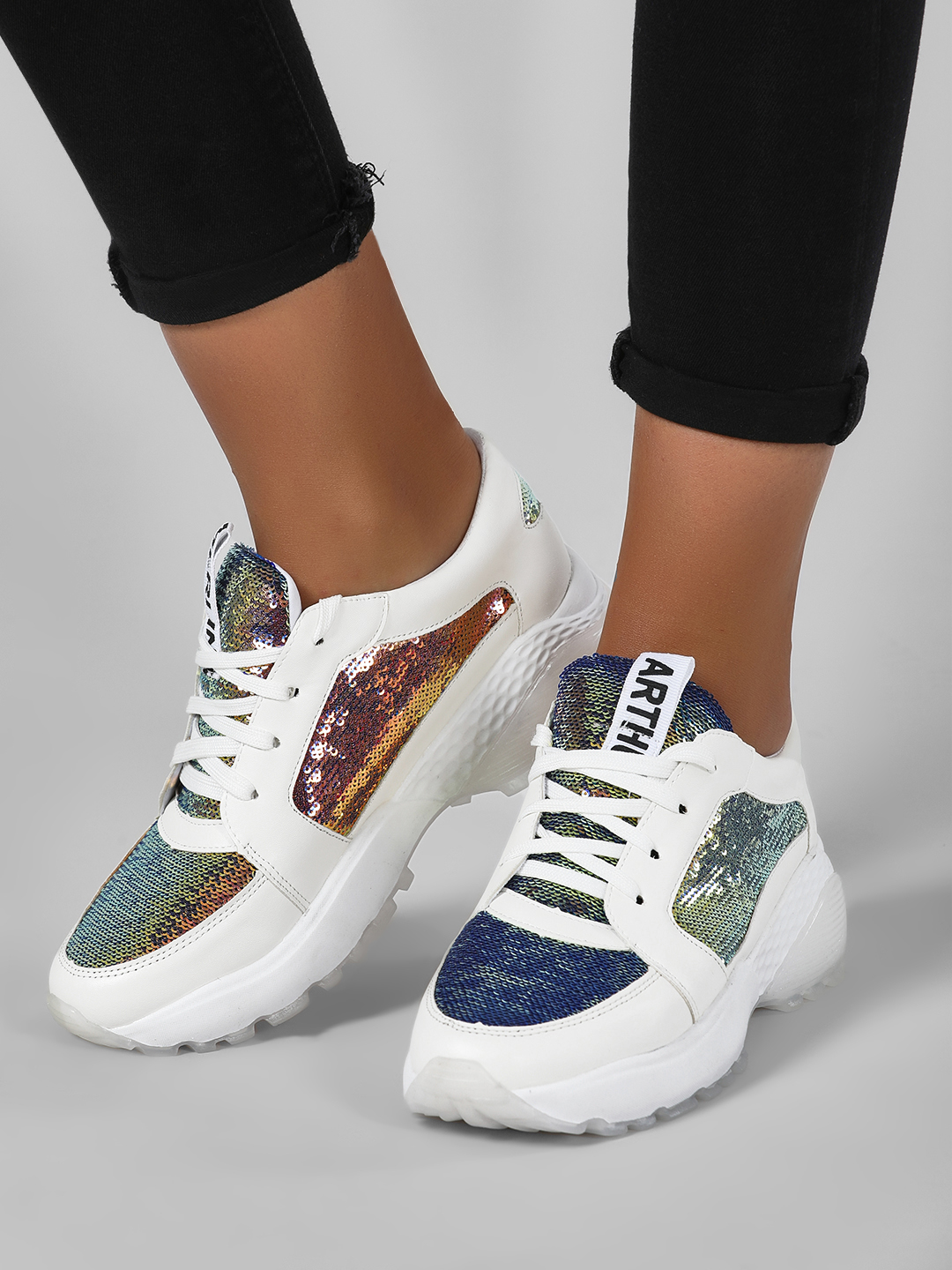 Sole Story White Glitter Chunky Sole Trainers 1