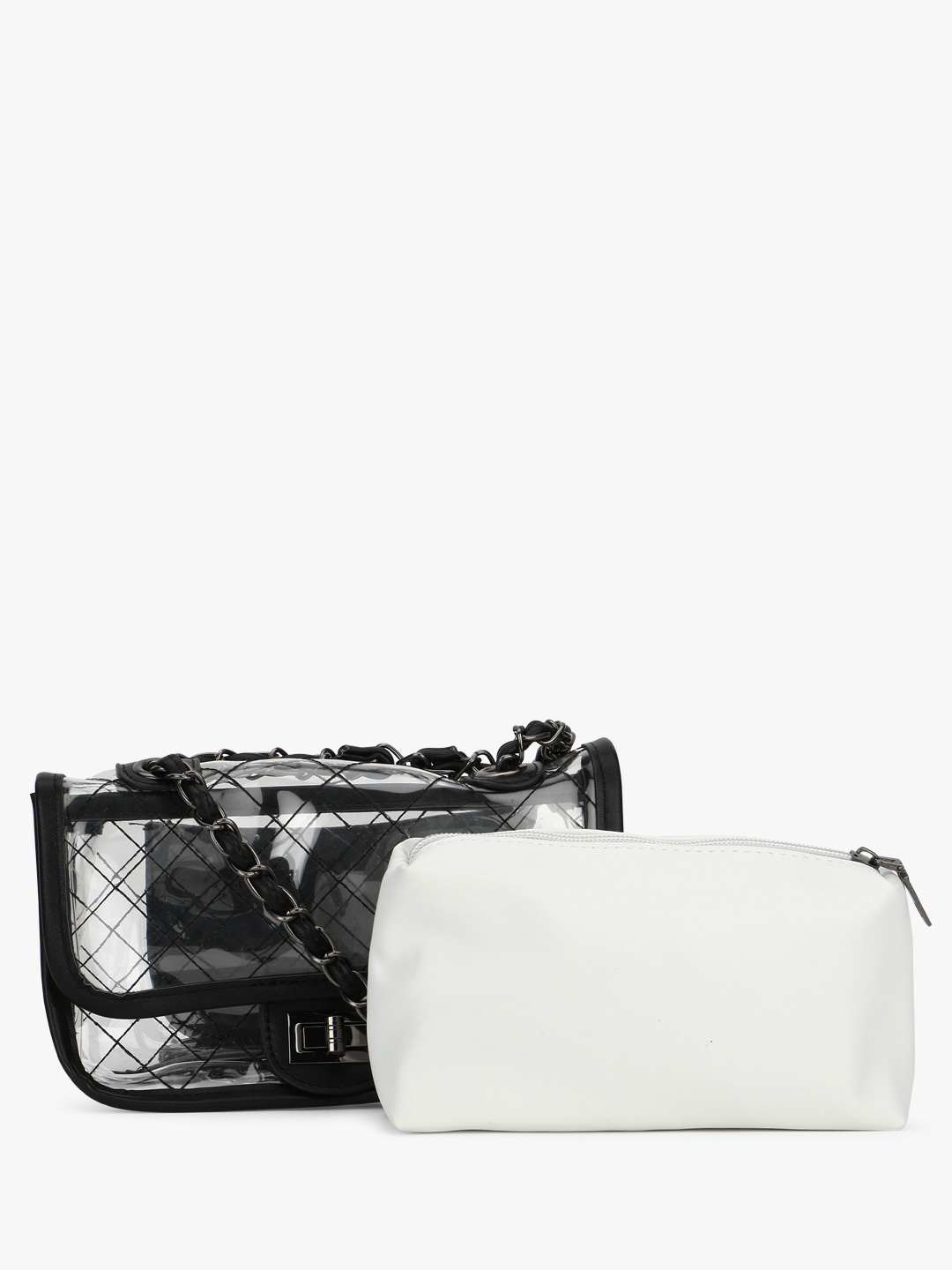 Origami Lily Black/White Clear Monochrome Sling Bag 1