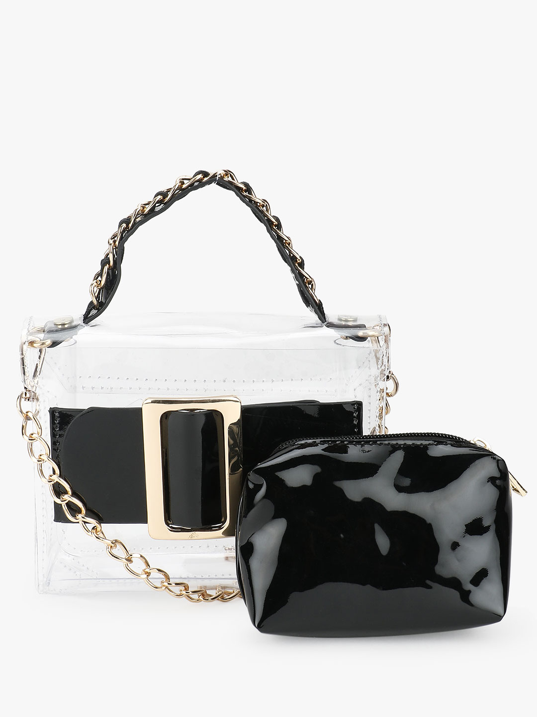 Origami Lily Black Buckle Detail Clear Sling Bag 1