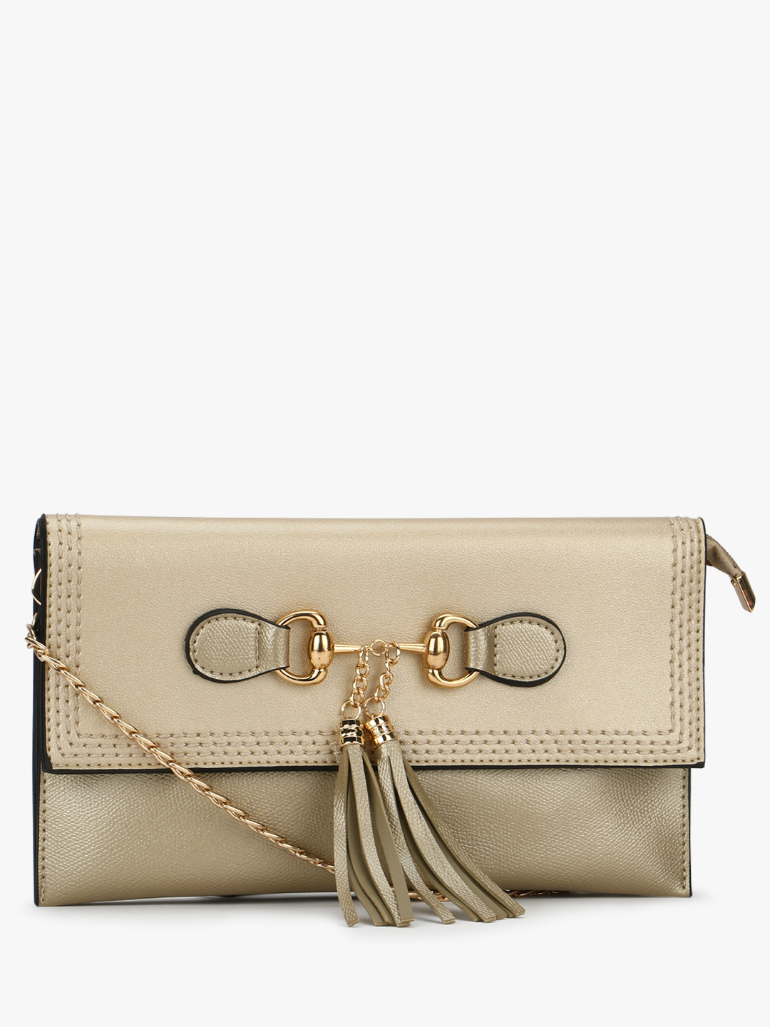 Origami Lily Dull Gold Clutch With Tassel Detail 1