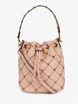 Origami Lily Quilted Studded Bucket Bag