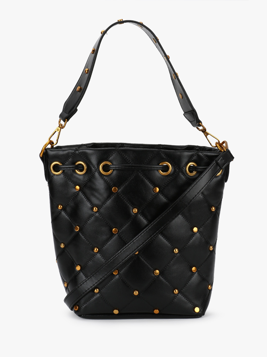 Origami Lily Black Quilted Studded Bucket Bag 1