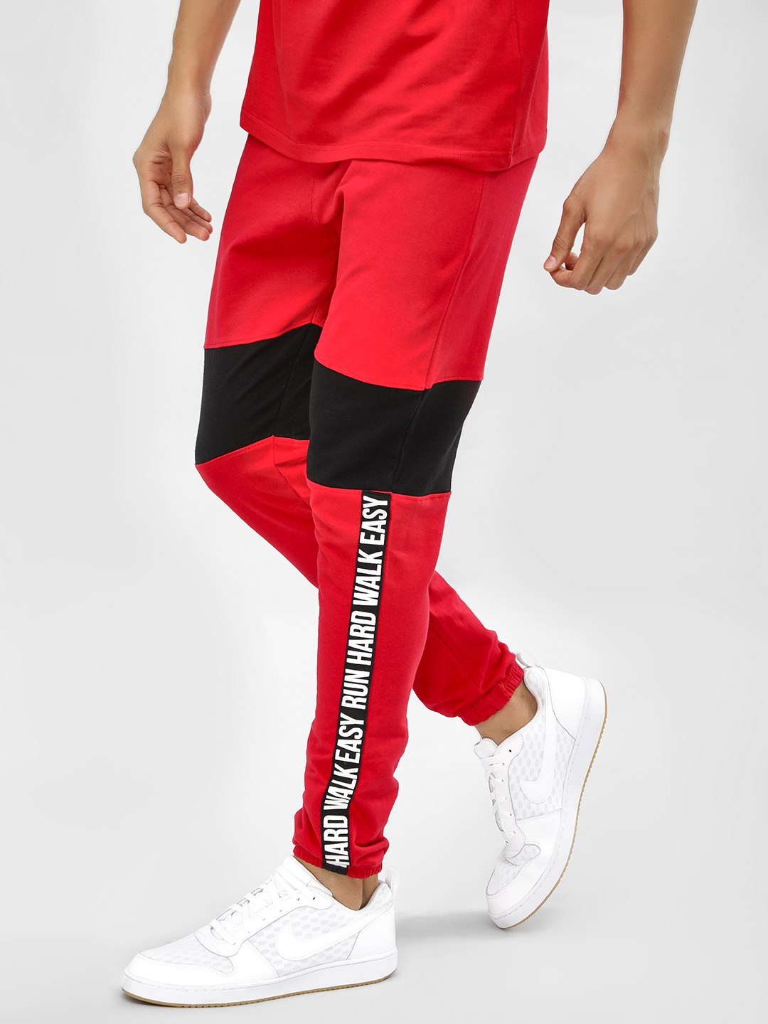 Garcon Red Printed Side Panel Joggers 1