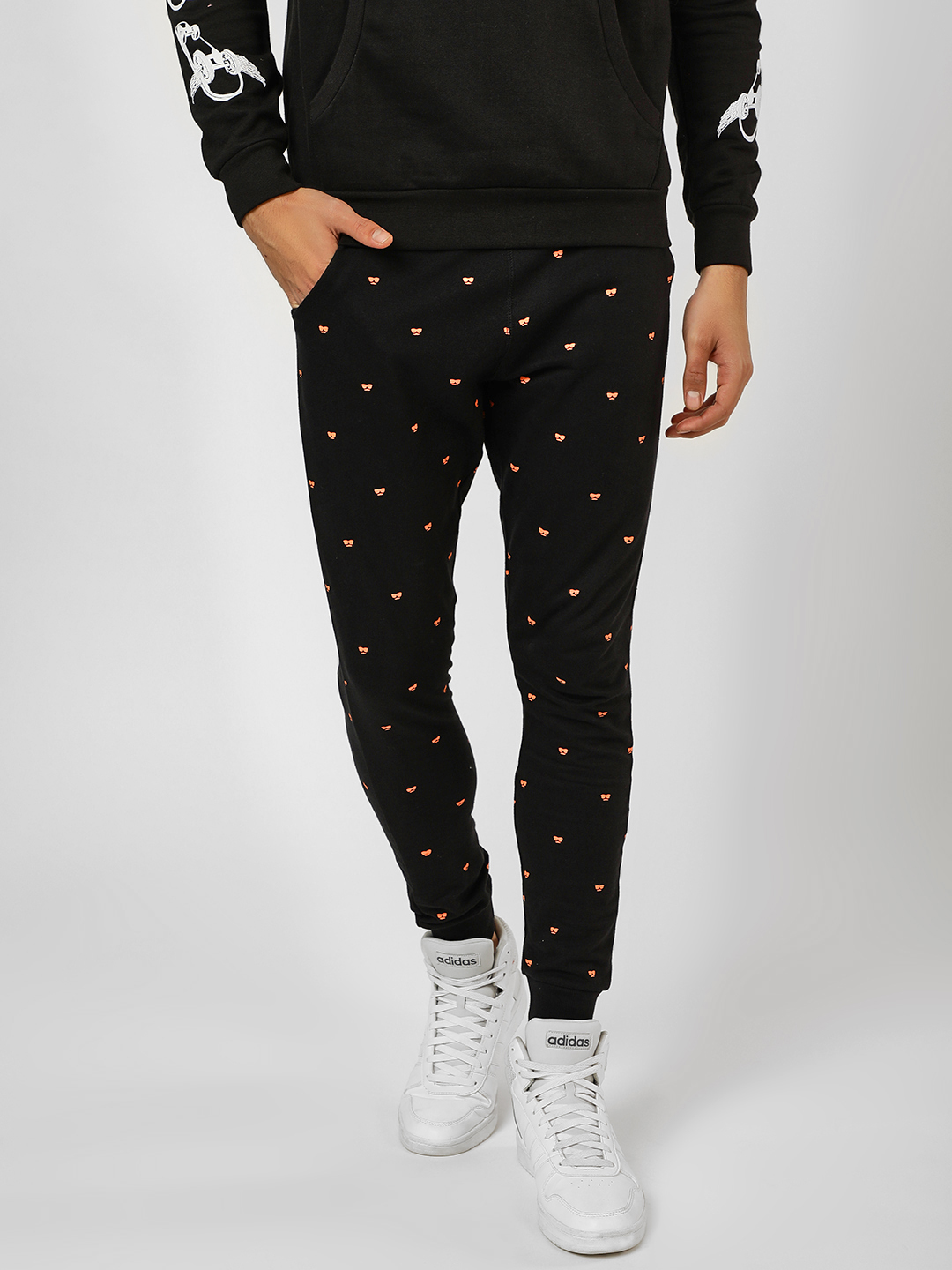 Garcon Black All Over Printed Joggers 1