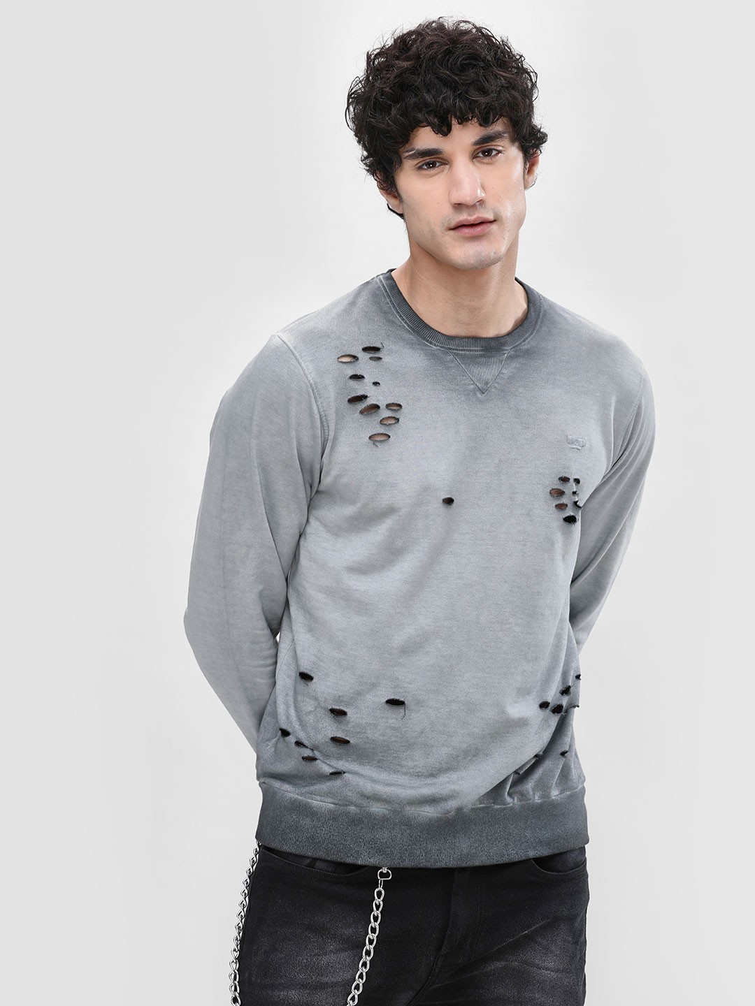Garcon Grey Crew Neck Distressed Sweatshirt 1