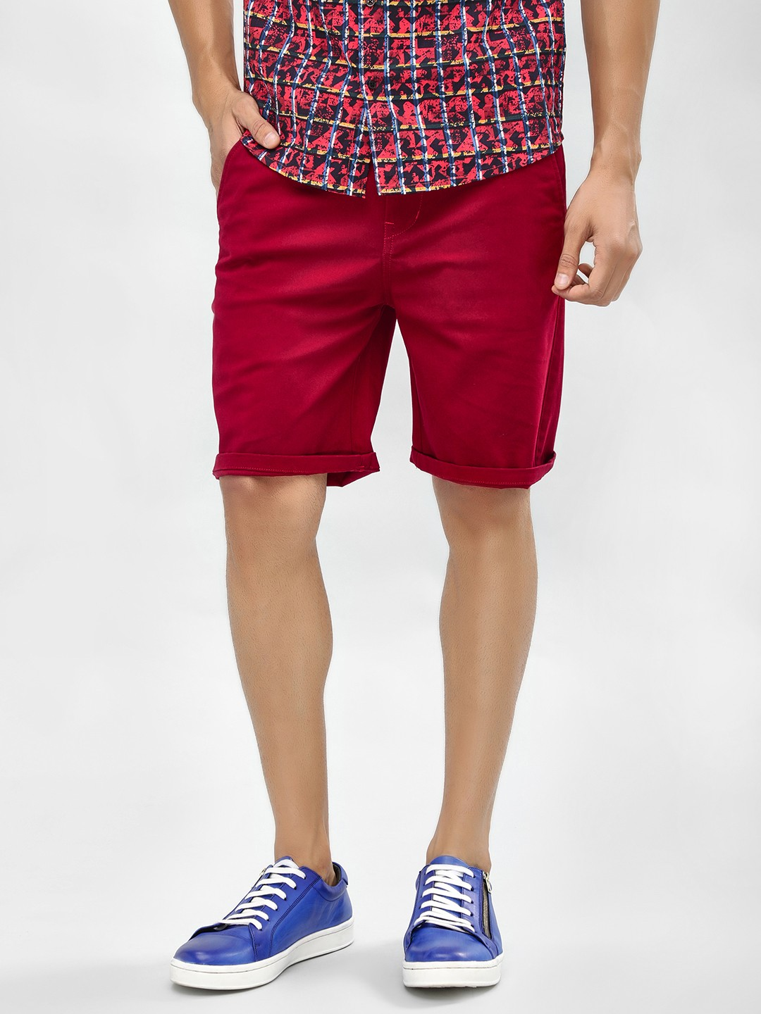 KOOVS Red Regular Fit Chino Shorts 1