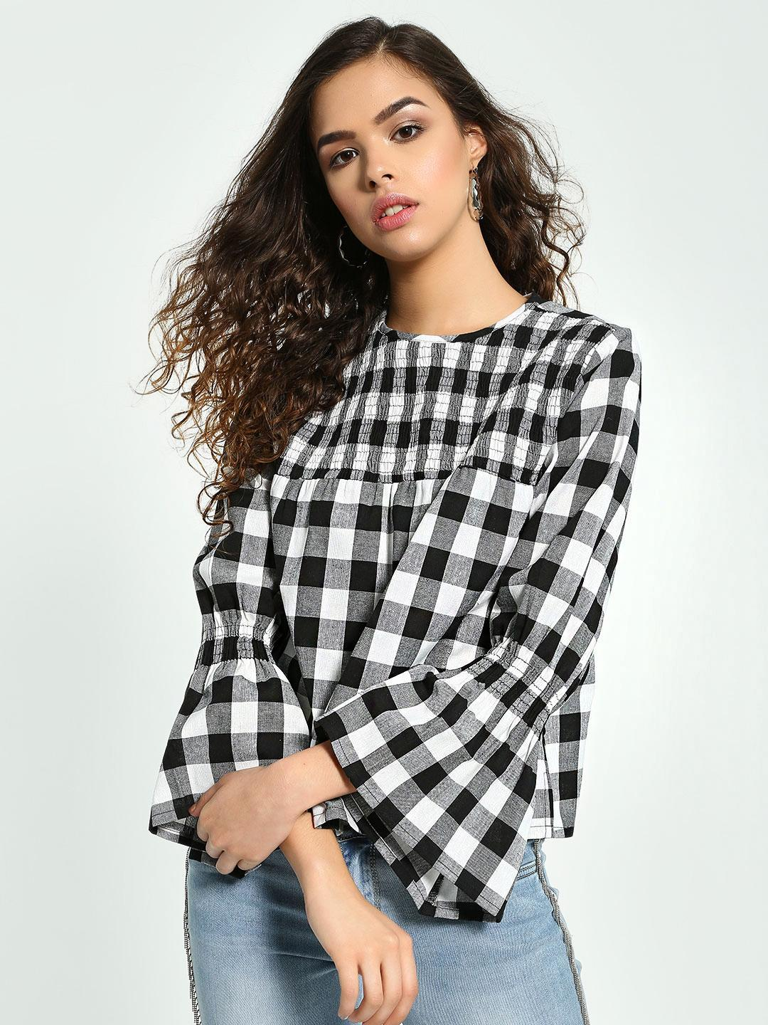 Influence Multi Gingham Check Shirred Top 1