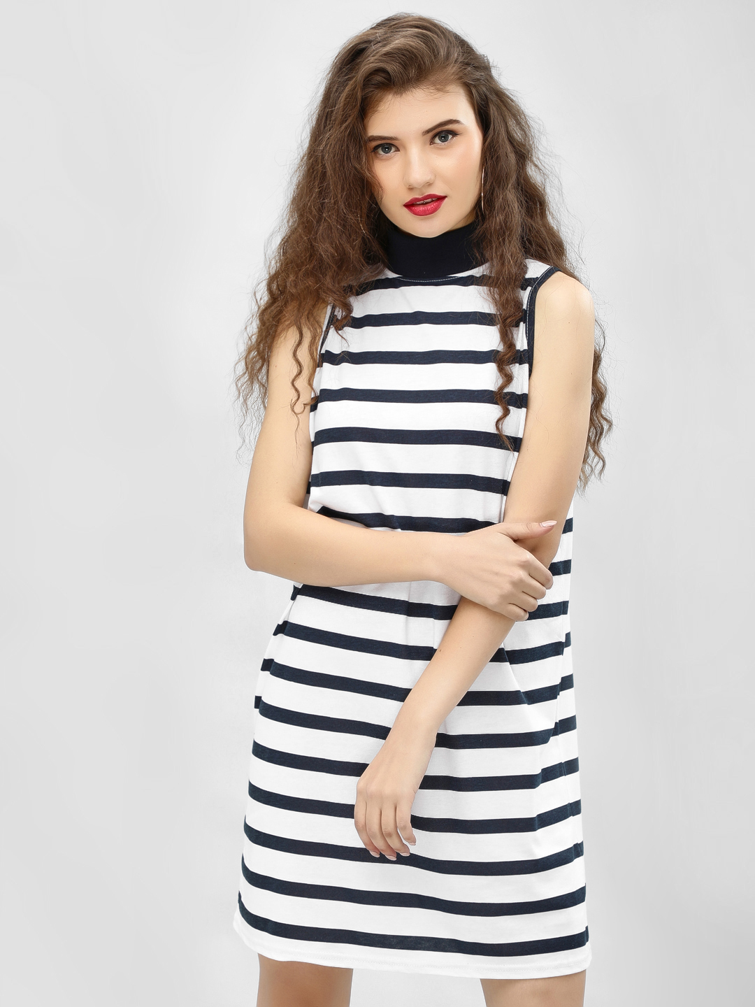 Daisy Street White/ Navy Striped High Neck Dress 1