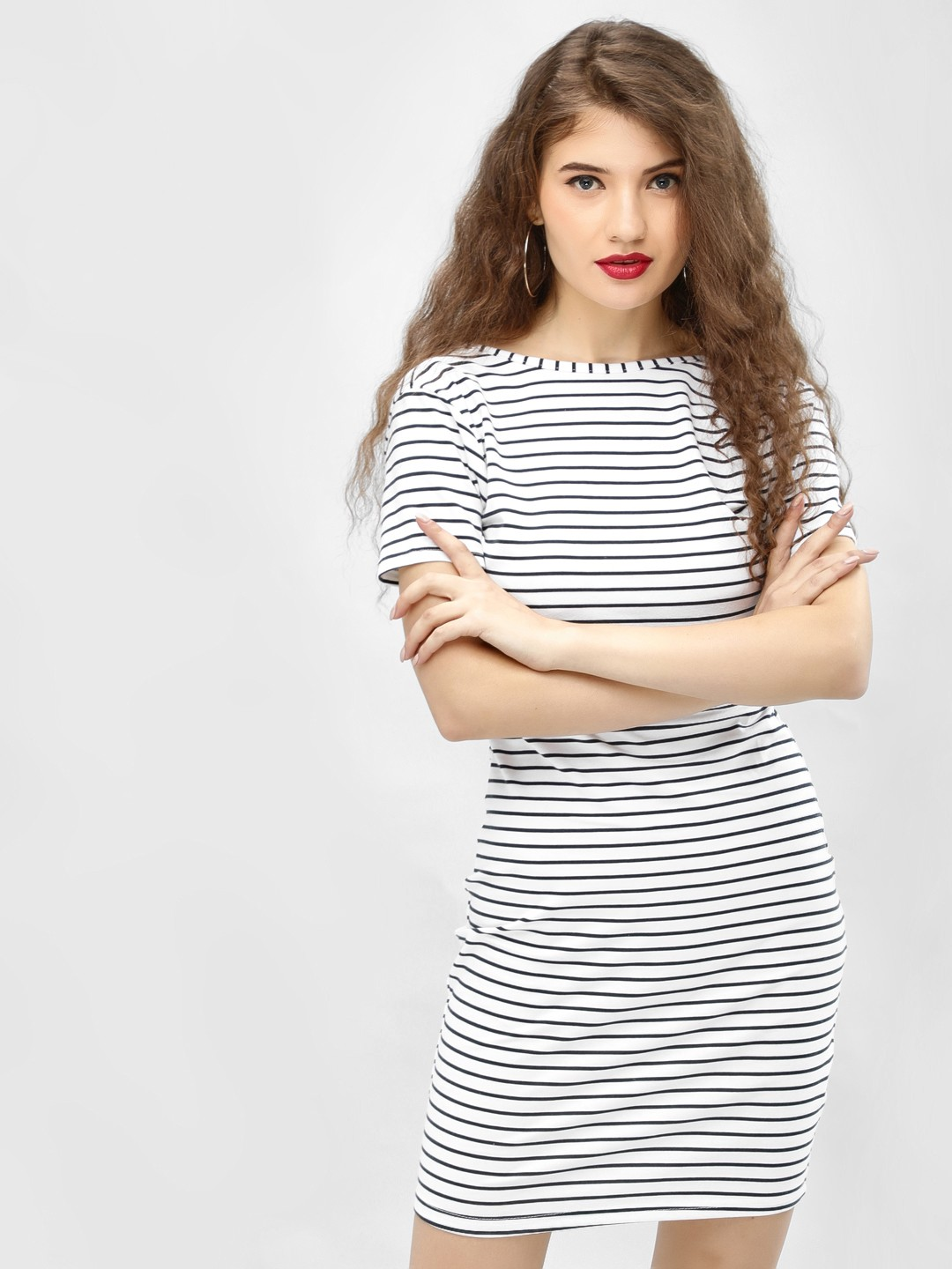 Daisy Street White/ Navy Horizontal Striped Bodycon Dress 1