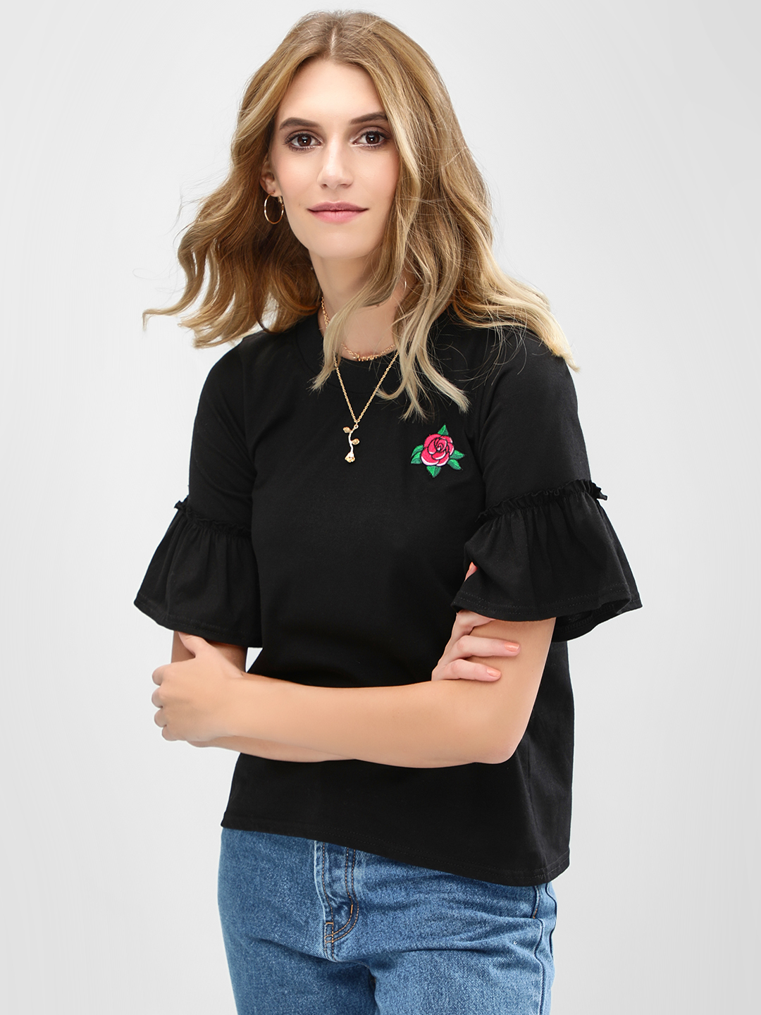 Daisy Street Black Rose Embroidered Flared Sleeve T-Shirt 1