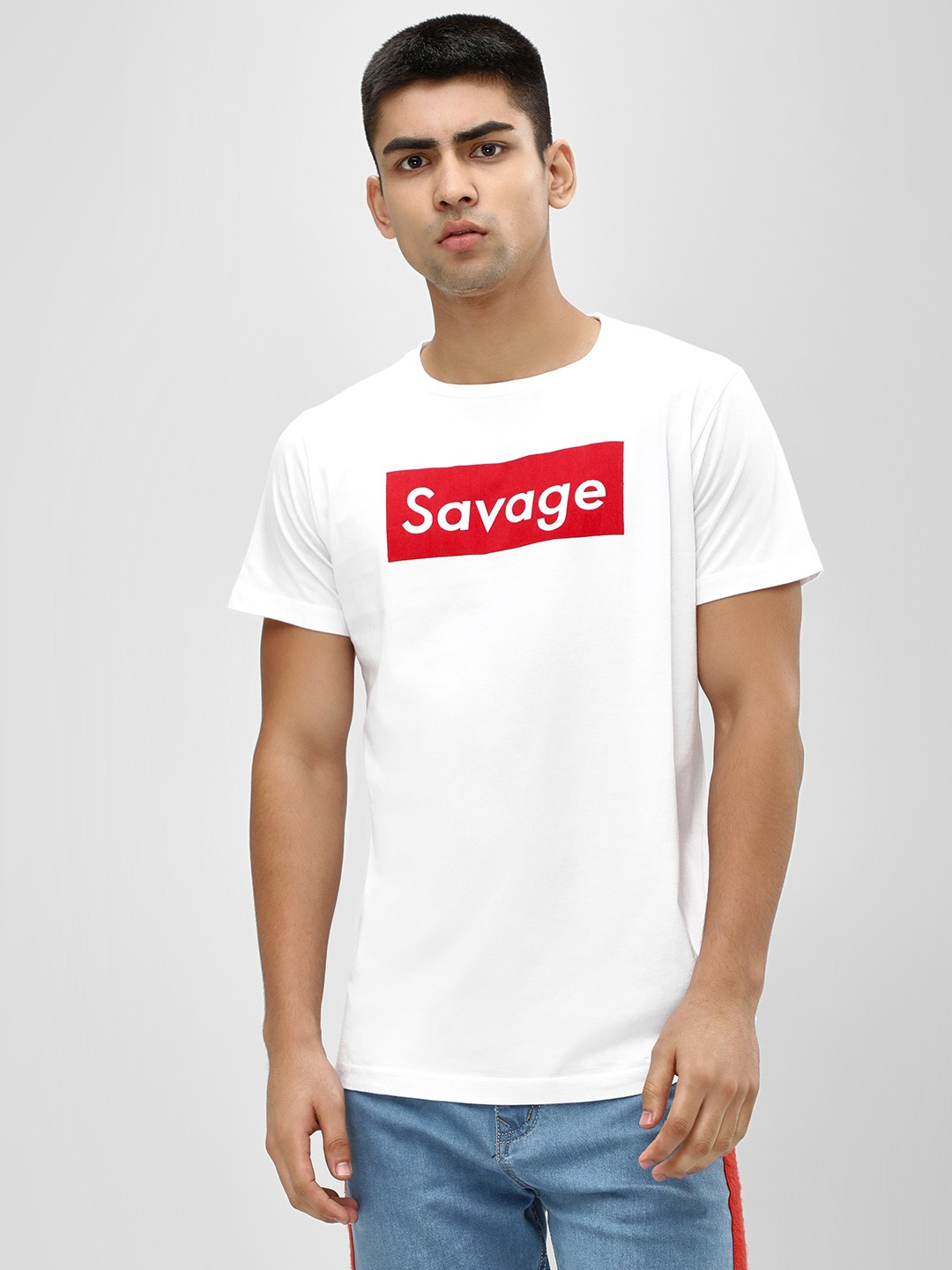 Spring Break White Crew Neck Savage Print T-Shirt 1