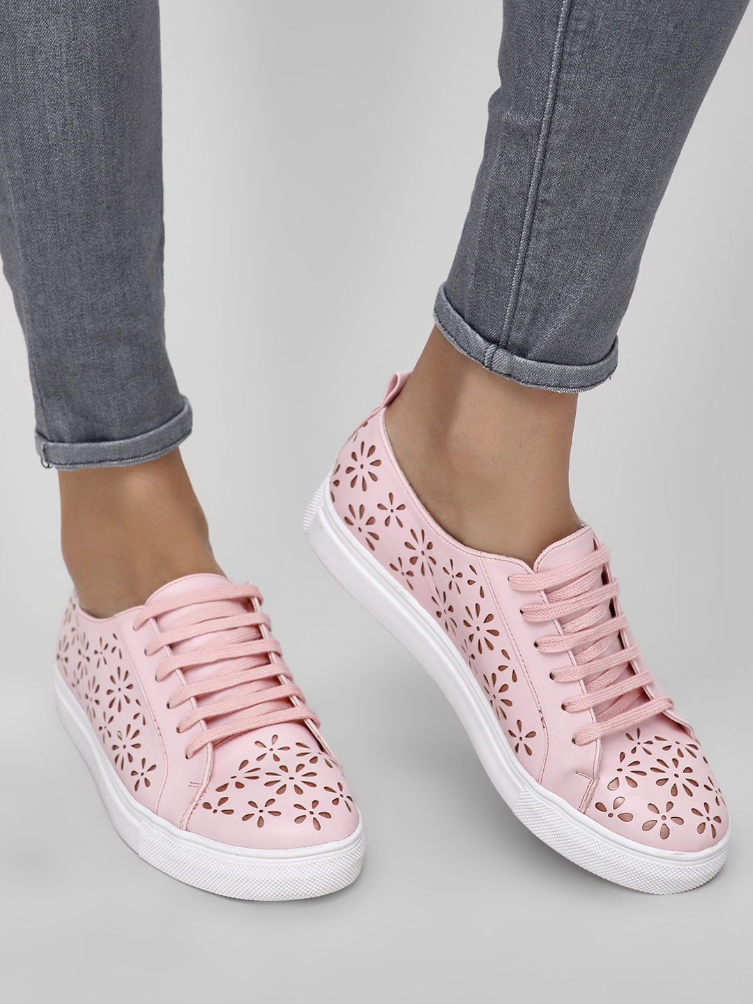 KOOVS Blush pink Laser Cut Detail Sneakers 1