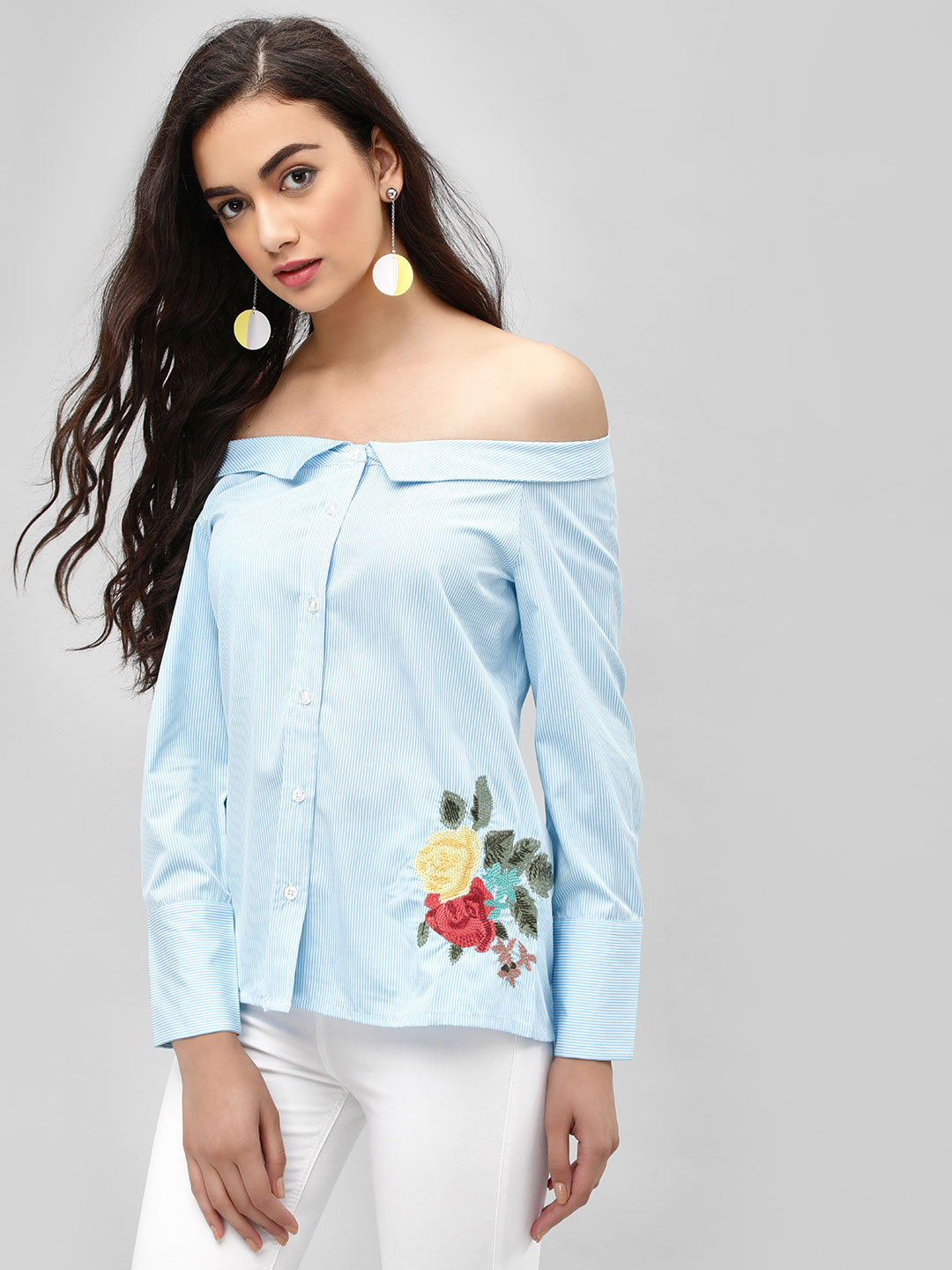 PostFold Blue Floral Embroidery Off-Shoulder Collared Shirt 1