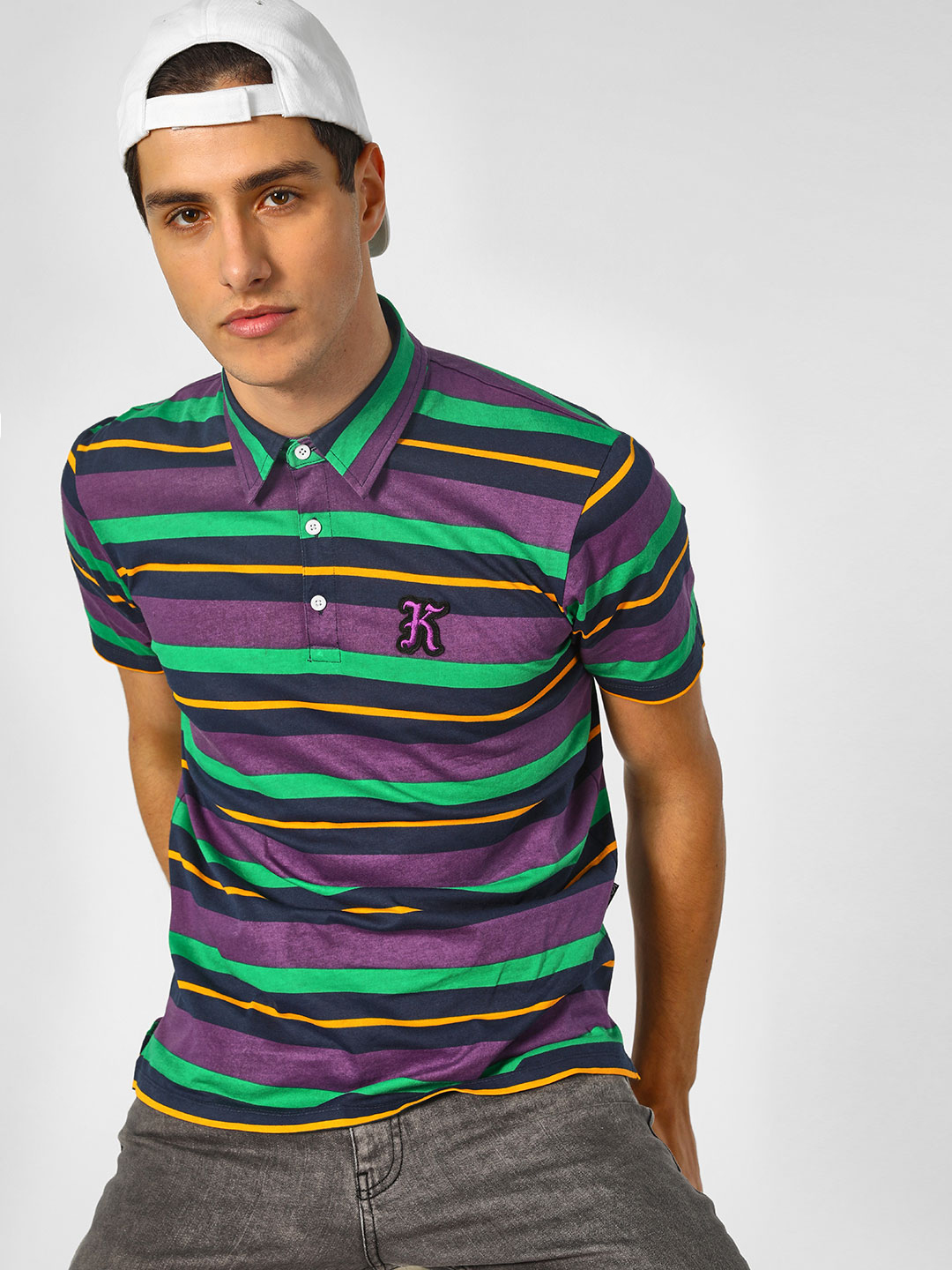 KOOVS Multi Varsity Stripe Polo Shirt 1