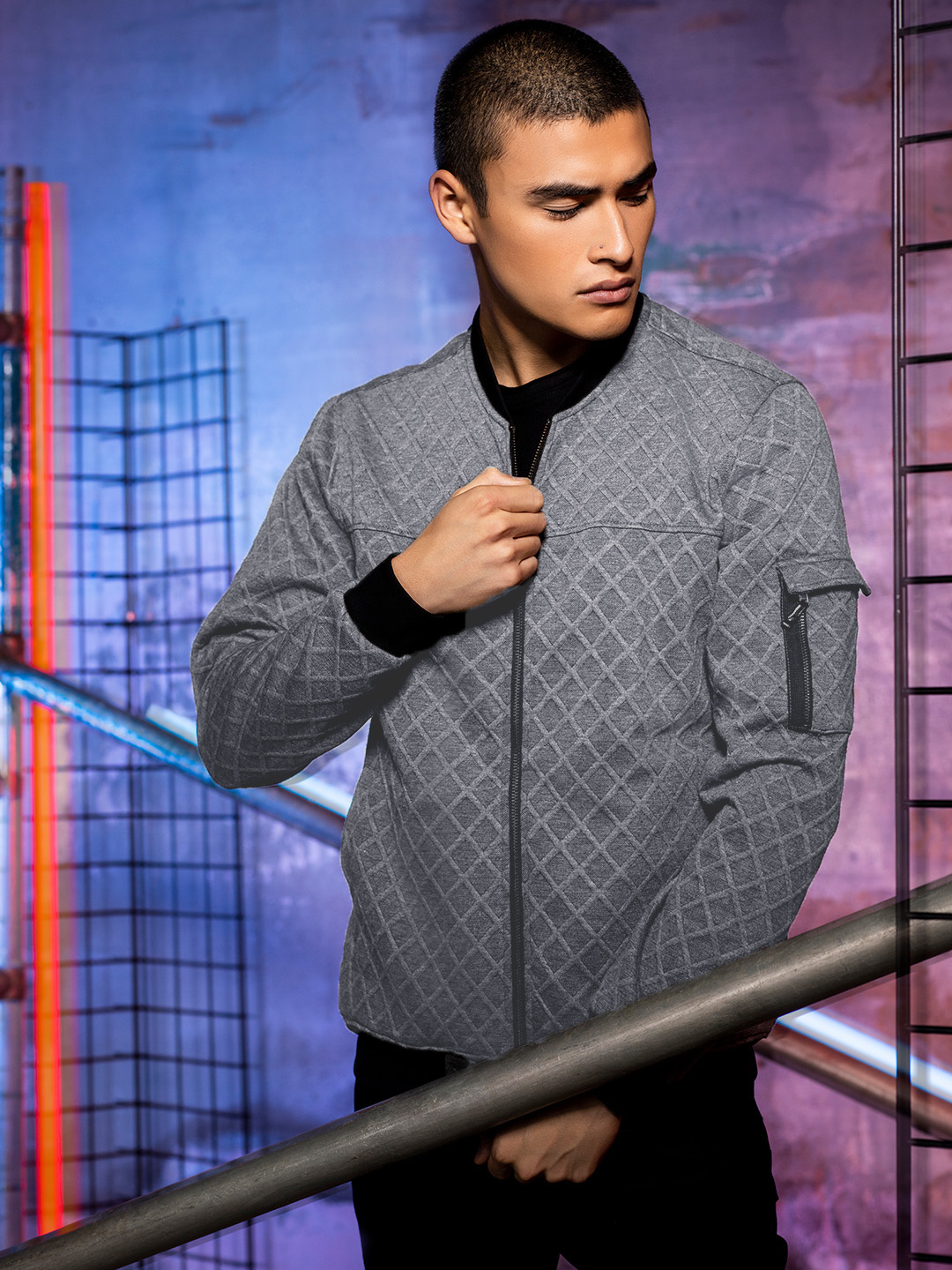KOOVS Grey Quilted Jersey Bomber Jacket 1