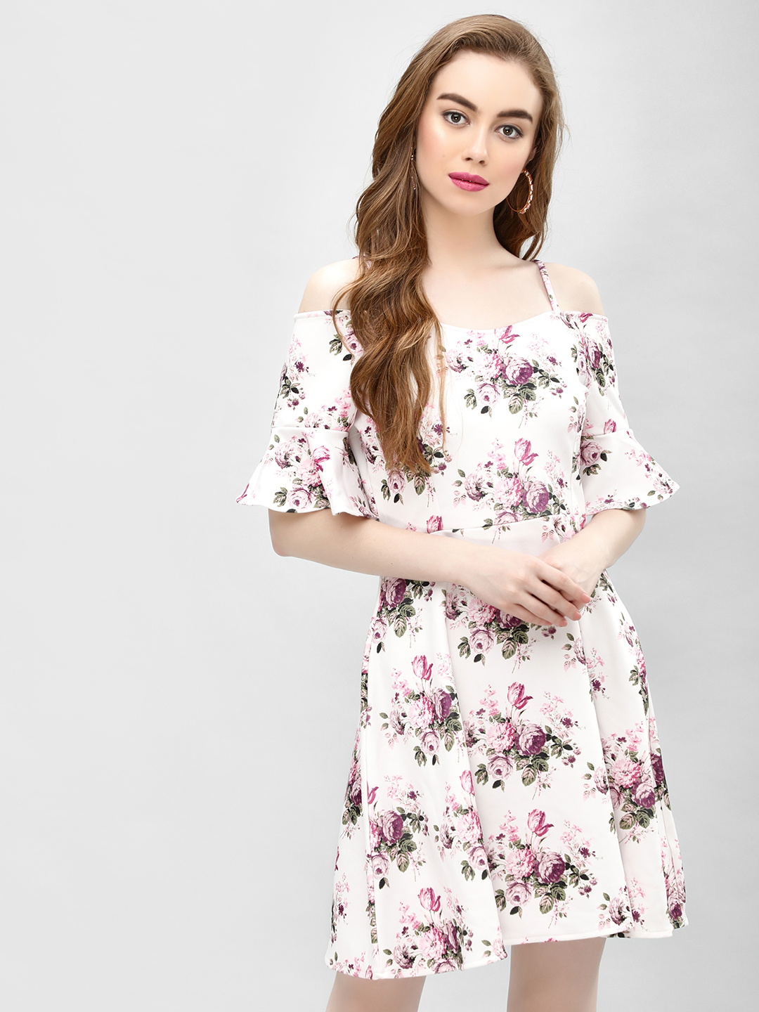 Cover Story Off White Floral Print Cold Shoulder Dress 1